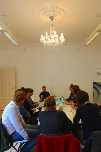 Dominic Schwickert und Stipendiatinnen der Studienstiftung des deutschen Volkes